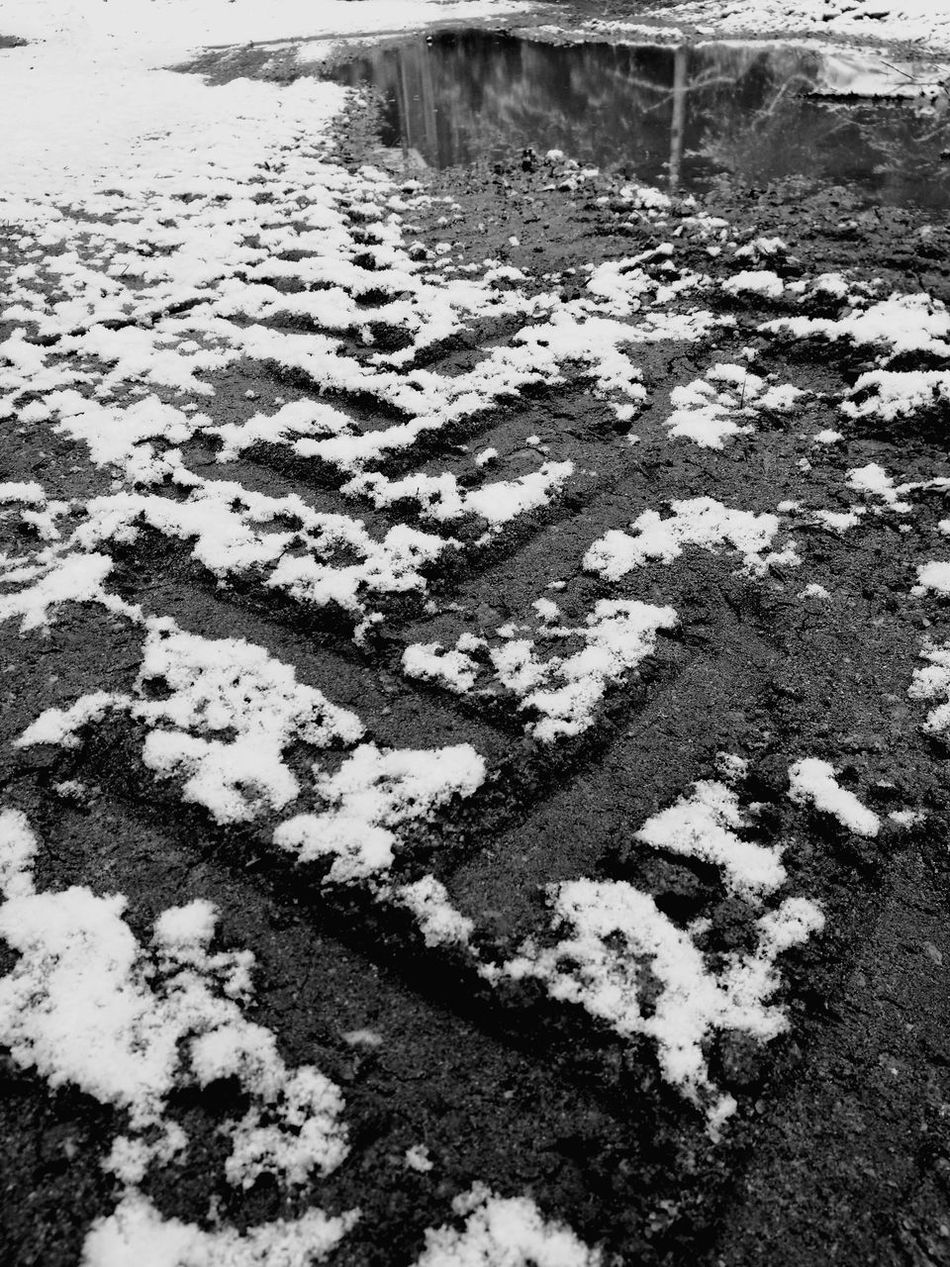 Back To Winter Tyre Print Tyre Marks Tyre High Angle View Nature Day Outdoors No People Cold Temperature Close-up Springtime Snowing