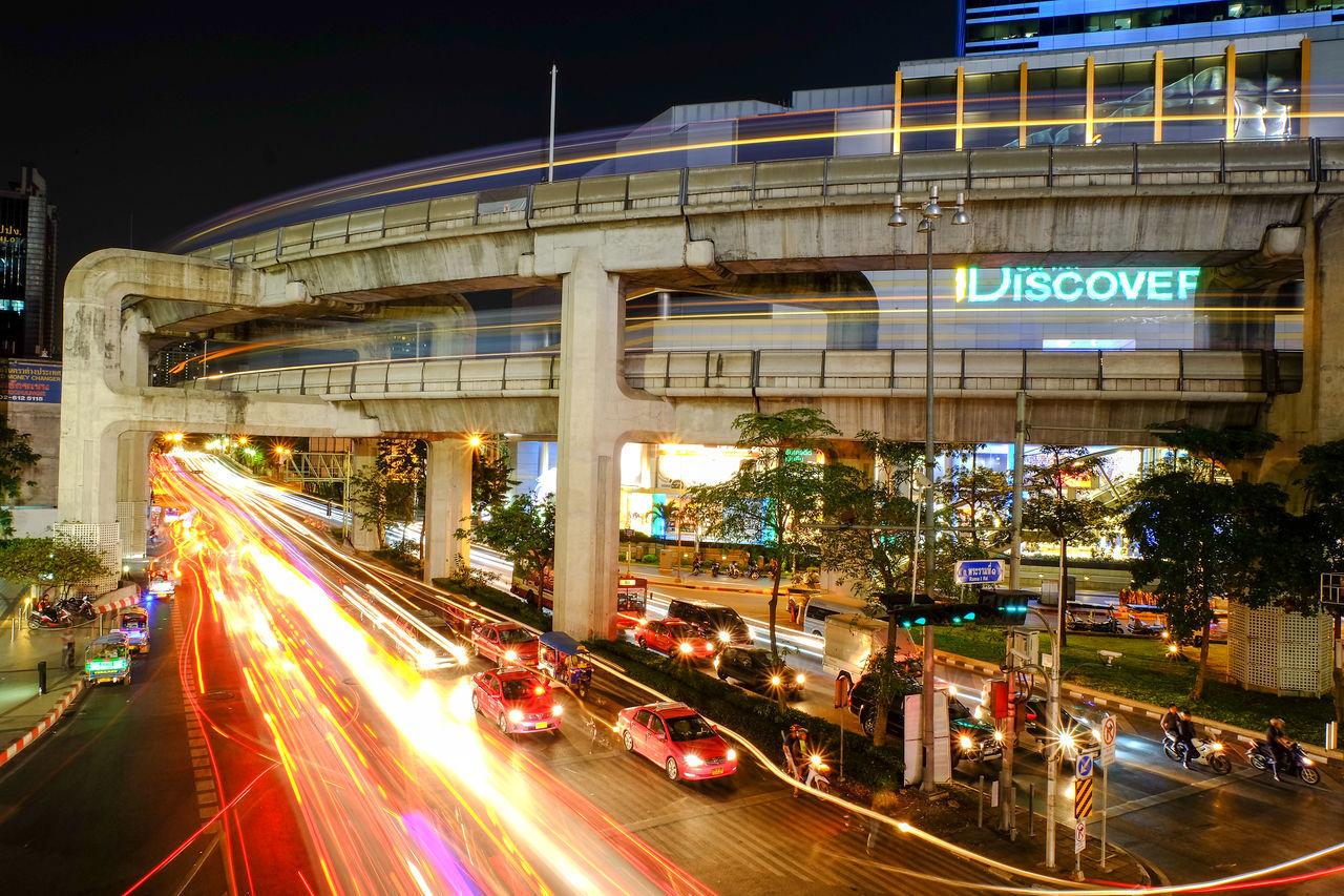 Bangkok Street Light Architecture Bangkok Bangkok City Bangkok Night Bangkok Thailand. Built Structure City Illuminated Light Long Exposure MBK Center (เอ็ม บี เค เซ็นเตอร์) Motion Night No People Outdoors Road Transportation