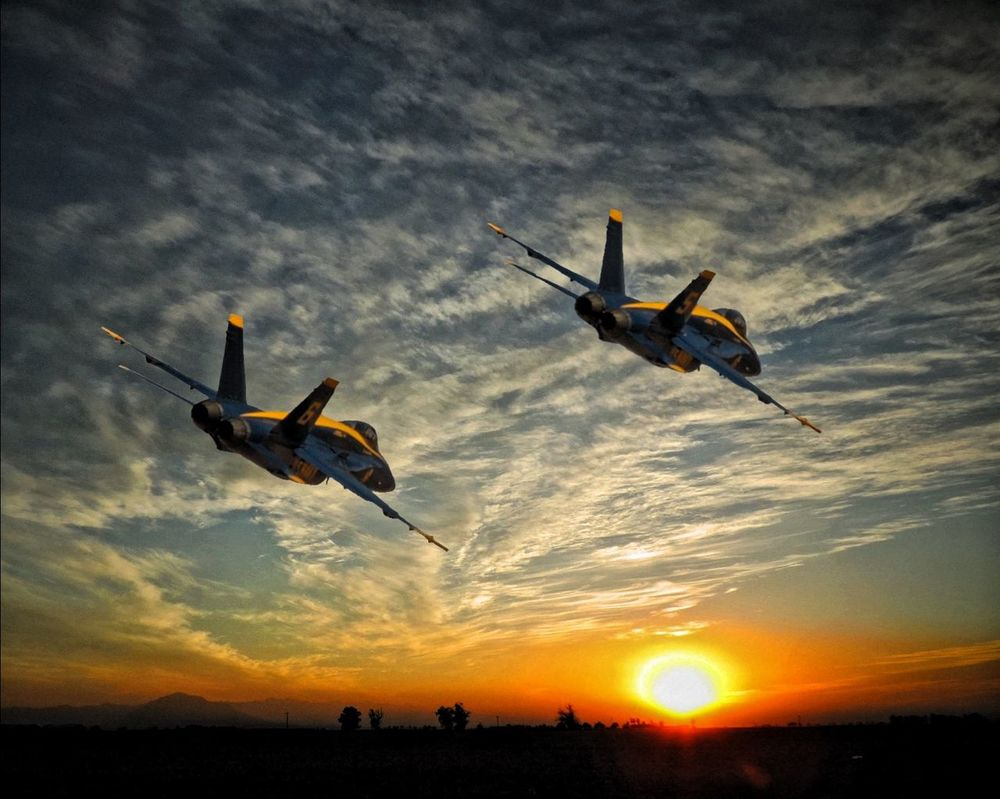The Navy's Blue Angel enhance an already spectacular sunset in California's Imperial Valley Blue Angels Navy Sunset Imperial County Imperial Valley Aircraft