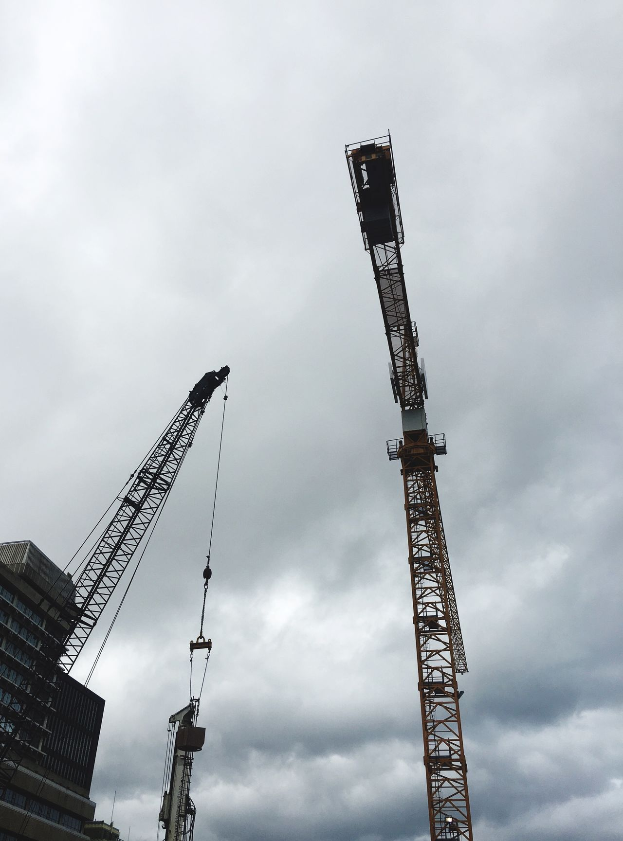 Cranes in the city Sky Low Angle View Development Construction Cranes Crane - Construction Machinery Cranespotting Cranes And Construction Tall - High Tall Cranes Overcast Overcast Skies City Construction