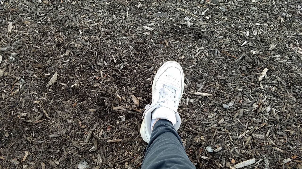 Mulch and foot Low Section Human Leg Shoe Real People Personal Perspective Human Body Part One Person Day Outdoors Men Leisure Activity Samsung Galaxy S7 Edge Eye4photography