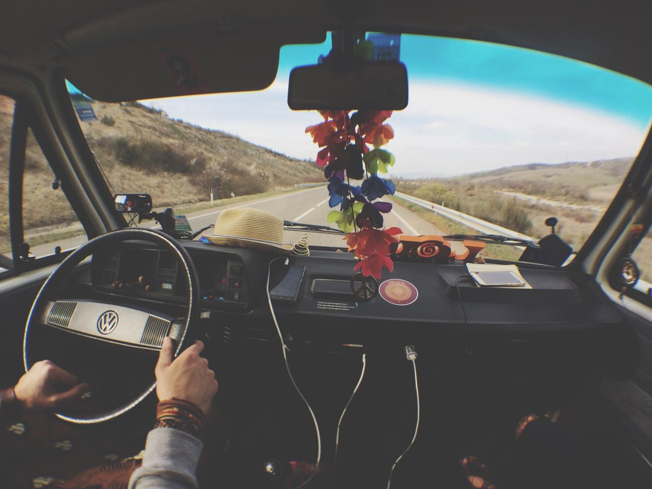 Road Trip! Roadtrip Wolswagen Westfalia Hippielife Driving Ontheroad Car Interior Holiday Hands EyEmNewHere Eyem Gallery Eyemphotography