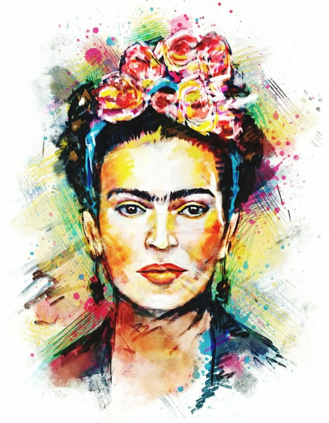BYOPaper! One Woman Only Paint Bizarre Creativity Multi Colored Brown Eyes Surreal Beauty Human Face