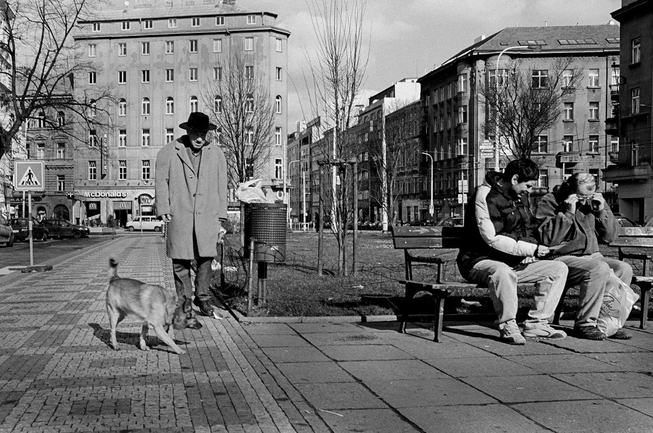dog, pets, one animal, full length, domestic animals, men, building exterior, real people, sitting, women, outdoors, adult, friendship, city, day, architecture, people, mammal, sky, only men, adults only, young adult