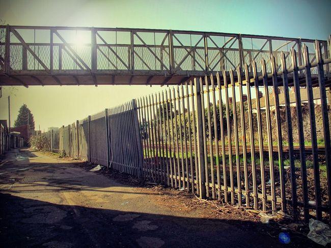 Allyway Ally Urban Back Lane Fencing Bridge Railway Bridge Pedestrian Bridge Decay Grunge Dirty Industrial