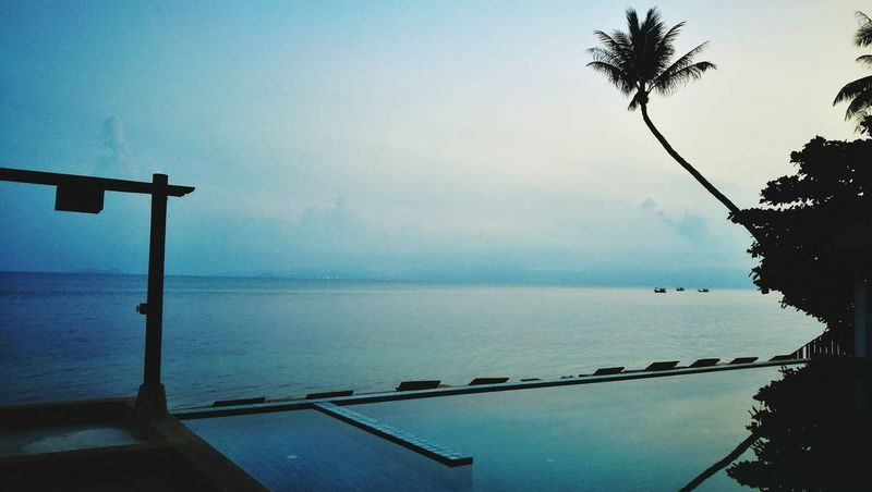 Water Tranquility Scenics Sea Nature Outdoors Tranquil Scene No People Nautical Vessel Beauty In Nature Horizon Over Water Beach Day Sky Coconut Trees Silluette Silence Silluettes And Sky Beach Pool Blue Water Surface Water Reflections Relaxation Vacations Coconut Palm Tree The Great Outdoors - 2017 EyeEm Awards