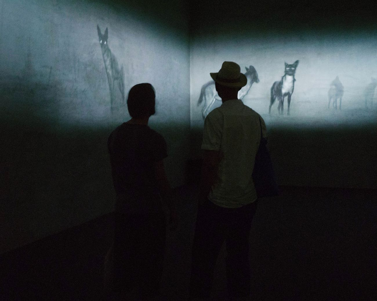 Art Basel / Michal Rovner Silhouette Real People Indoors  Shadow Two People Men Standing Art Arts Culture And Entertainment Art Basel The Street Photographer - 2017 EyeEm Awards People