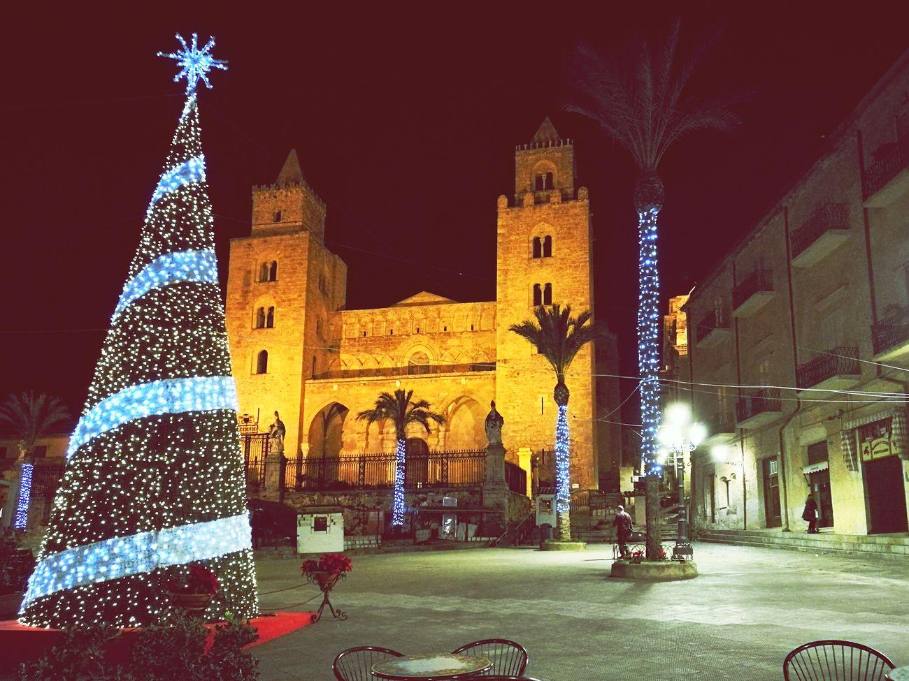 Scenics Square Cristmas Cathedral Catholic Church Cefalú, Sicilia, Mare, Paesaggio Outdoors Xmas Decorations Travel Destinations