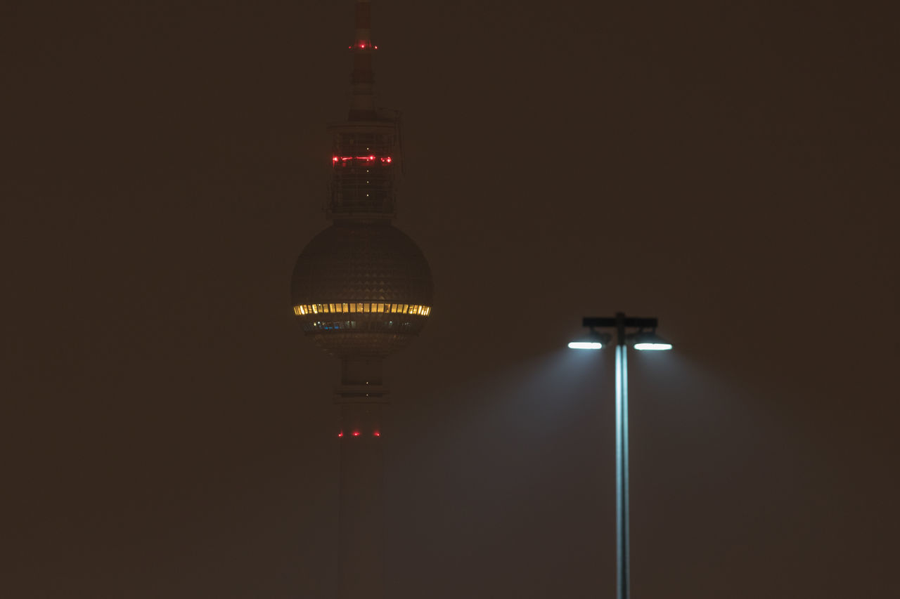Architecture Berlin TV Tower Building Exterior Built Structure Capital Cities  City Dark Darkness And Light Fernsehturm Illuminated Lamp Light Lighting Equipment Long Exposure Low Angle View Night Night Lights Nightphotography No People No People, Outdoors Street Lamp Street Light Tower TV Tower