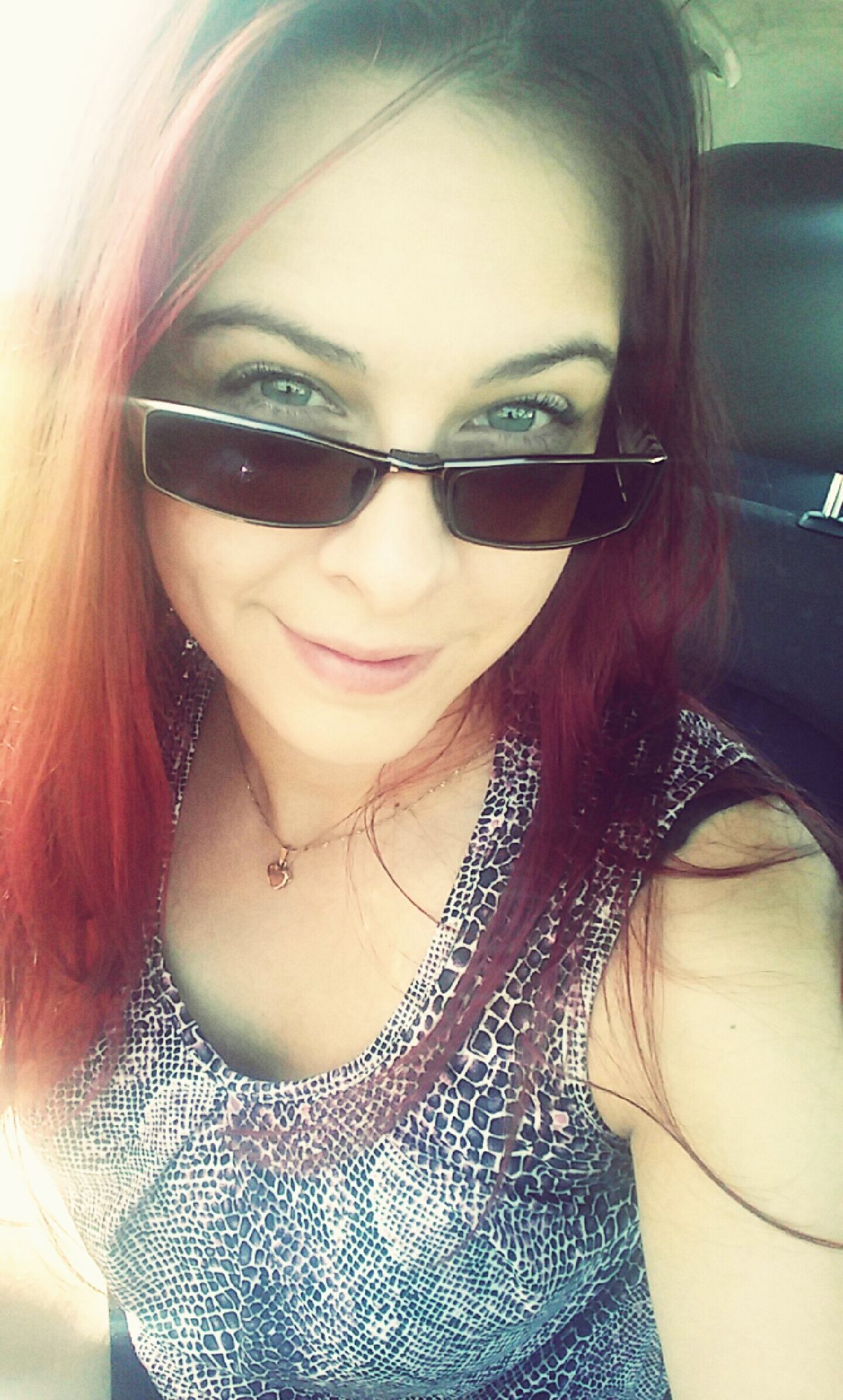 Headshot Young Women Long Hair Red Hair Sunglasses ✌👌 BlueEyes Selfie ✌