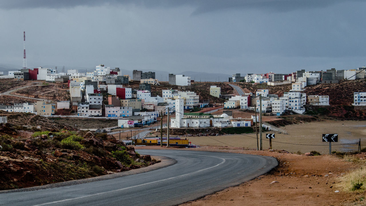 Architecture Building Exterior Built Structure Cityscape Cloud - Sky Day Landscape Maroccan Architecture Marocco No People Outdoors Rainy Days Residential Structure Road Street Photography Town White Background The Great Outdoors With Adobe
