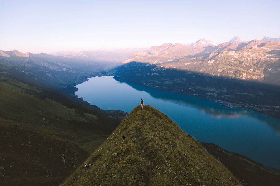 Last summer in Switzerland. Mountain Mountain Range Nature Scenics Beauty In Nature Tranquility Tranquil Scene Outdoors Lake Day Snow One Person Landscape Winter Sky Cold Temperature Hiking Real People Travel Destinations People Switzerland