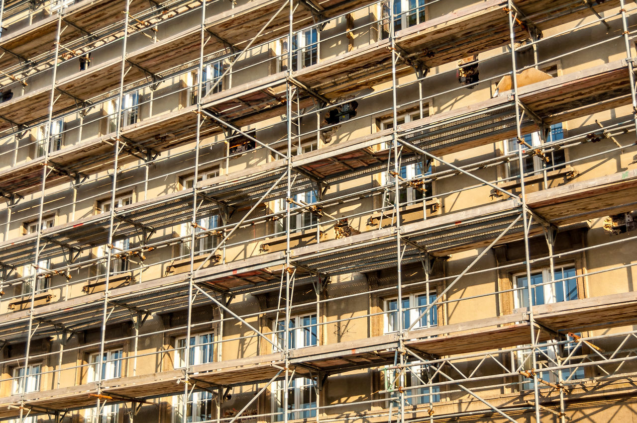 building exterior scaffolding Building Work Building Building Exterior Construction Work Falsework House Houses And Windows Scaffold Scaffolding Wall Window Windows