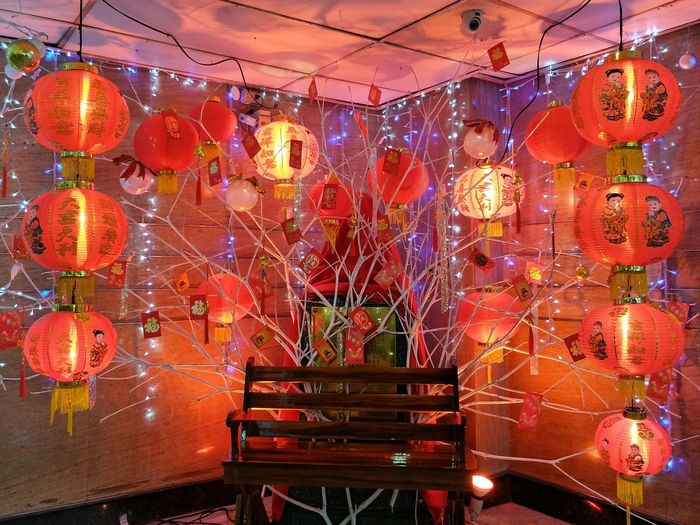 Kung Hei Fat Choi Chinese New Year Chinese Culture Chinese Lantern Chinesedecoration Decorations Creative Beautiful Light And Shadow Red Color Beauty Illuminated Hanging Multi Colored Market Red No People Indoors