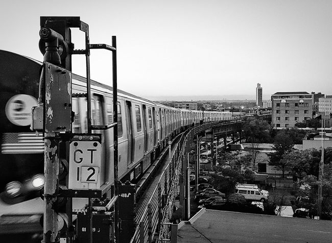 There it goes. Transportation Clear Sky Railroad Track Built Structure Architecture Copy Space Mode Of Transport City Building Exterior The Way Forward Day Outdoors Sky Railway Track Diminishing Perspective No People City Life Railway Signal NYC EyeEm NYC Photography Black And White Bnw Blackandwhite Photography Urban Lifestyle