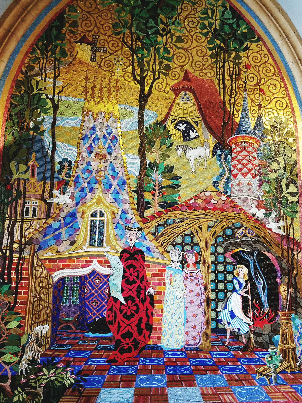 Magic Kingdom Cinderellas Castle Mosaic Wall Art Wall Murals Princess Stories Disney Disney Princess Magical Wicked Where Magic Begins Evil Step Sisters Step Mother Where Dreams Come True What Dreams Are Made Of The Most Magical Place On Earth