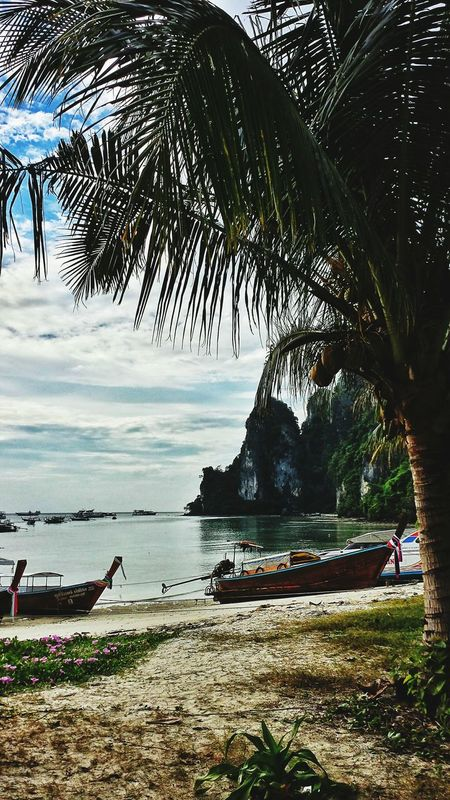 Clouds Beach Southern Thailand Southeast Asia ASIA Outdoors Thailand Andaman Sea Seascape Sunshine Afternoon Krabi Trees Sand Boats Landscape Palm Trees Karst Hillside Miles Away