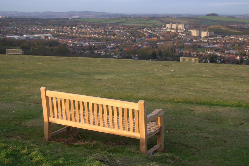 Bench Seat Bromsgrove Country Park Day Grass Green Color Hillside View Landscape Lickey Hills Nature No People Outdoors Park Park Bench Sky Suburb Worcestershire