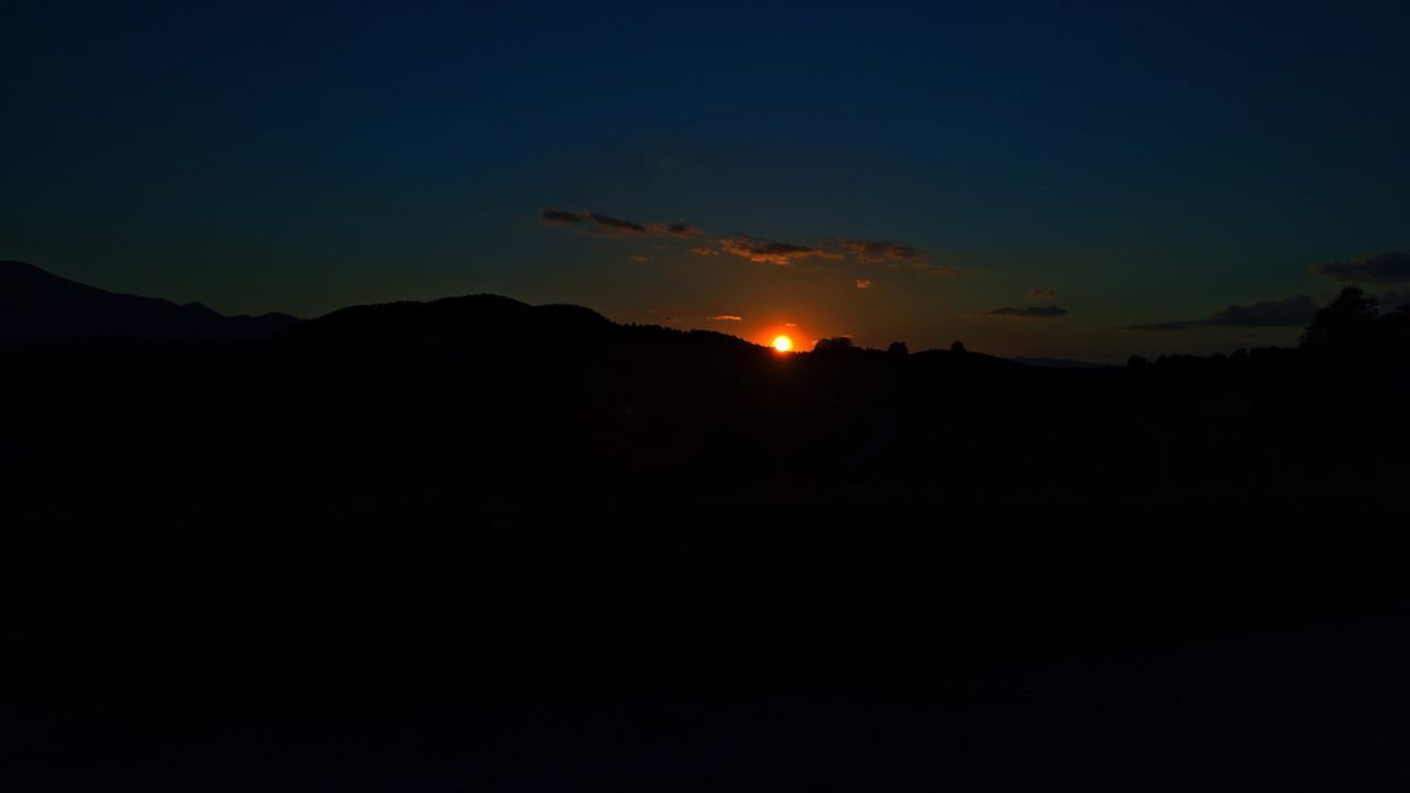 silhouette, nature, sunset, landscape, tranquility, beauty in nature, no people, scenics, sky, mountain, moon, night, outdoors