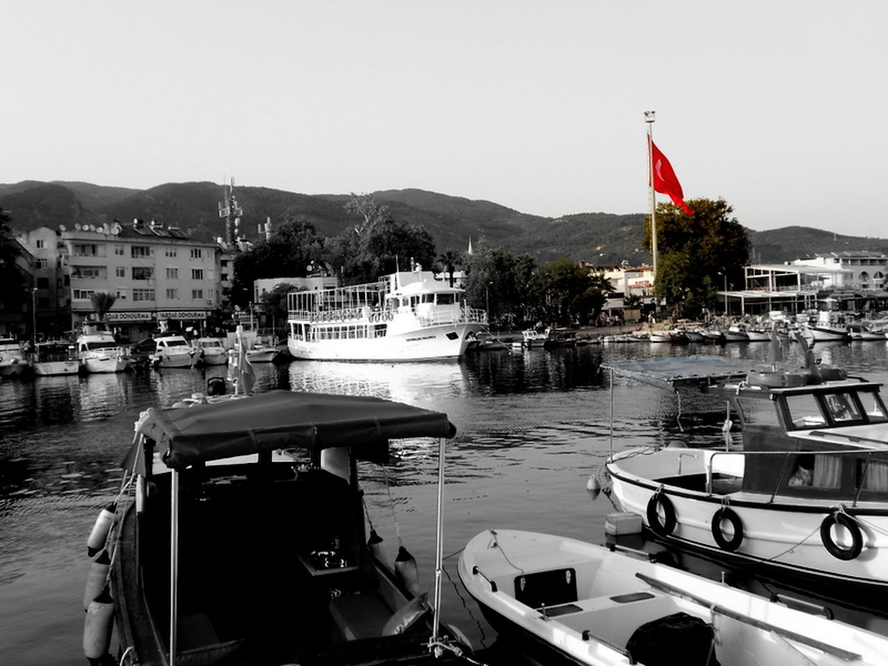 #beautiful Flowers #boats Big And Small #FLAG OF TURKEY #harbour #nice #red #TURKEY/Balıkesir-Altınoluk #white-black-r