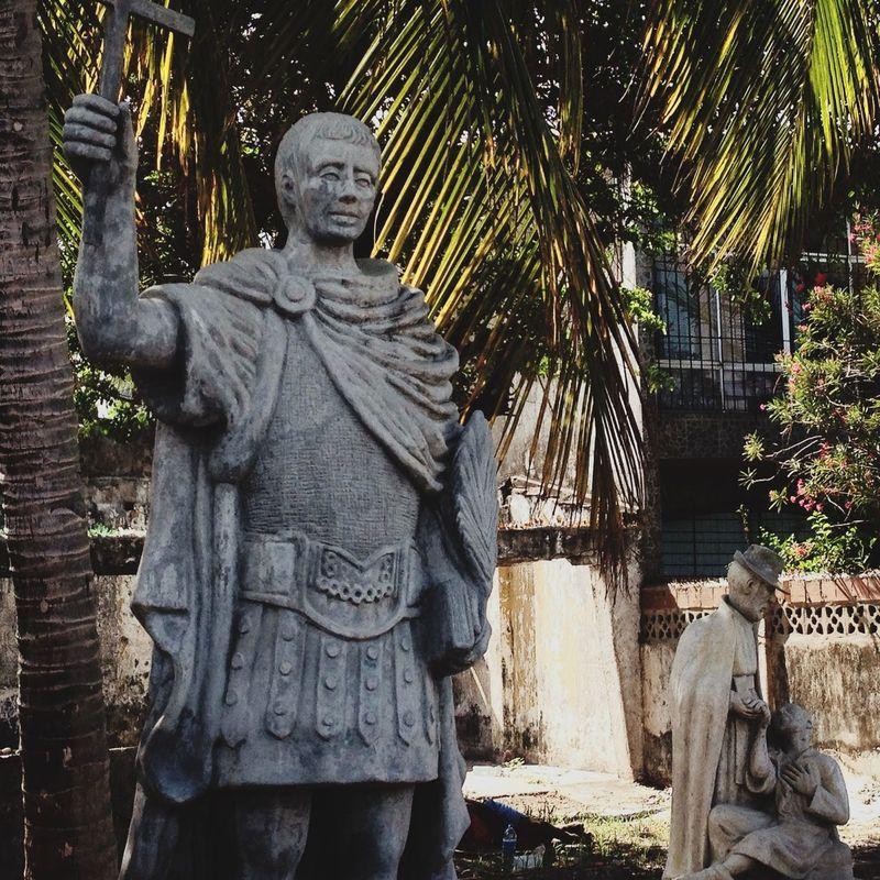A beautiful statue from San Expedito in an abandoned yard in Olinda Pernambuco