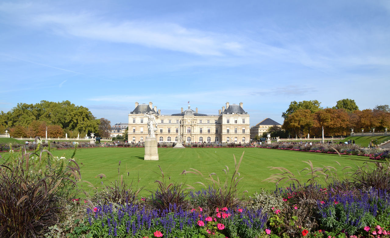 View of the Luxembourg Palace in Paris, France Architecture Built Structure Destination Field Flower France Garden Grass Green Color Jardin Du Luxembourg Landmark Landscape Luxembourg Garden Monument Nature Outdoors Paris Park Plant Sightseeing Tourism Touristic Travel Travel Destinations Tree
