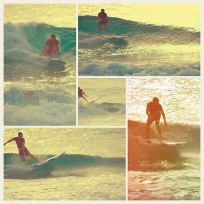 surfing at boca beach by la florida
