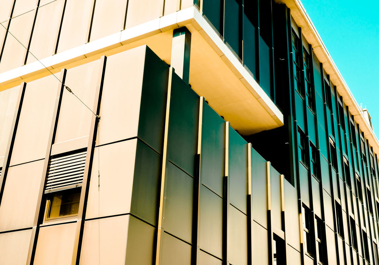 Office Block Architectural Feature Architecture Building Building Exterior Built Structure City Colors Day Fassade Full Frame Geometric Shape In A Row Low Angle View Modern Modern Architecture No People Office Block Office Building Outdoors Repetition Window