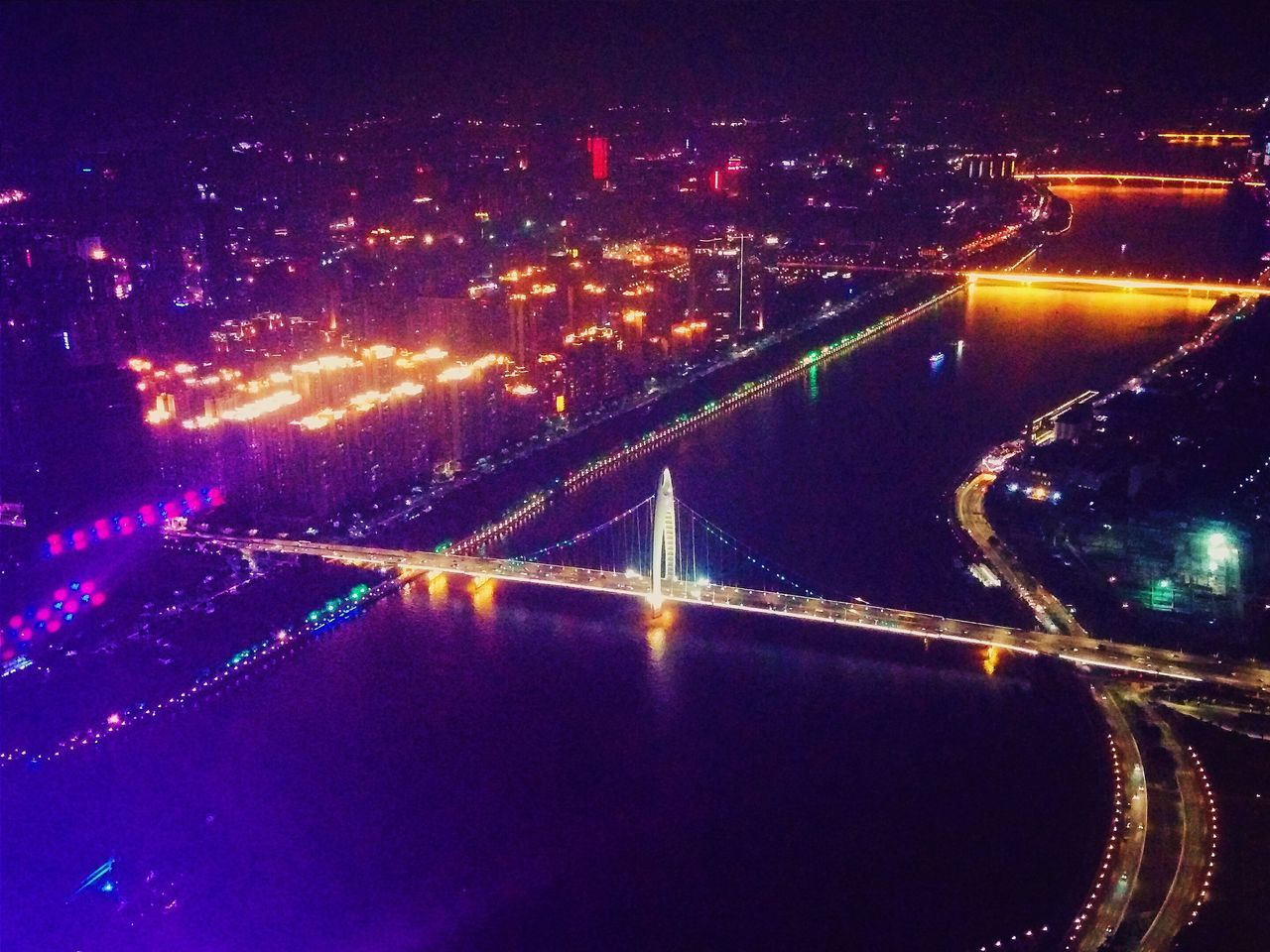 illuminated, night, transportation, connection, no people, light trail, bridge - man made structure, outdoors, city, road, architecture, water, cityscape, sky