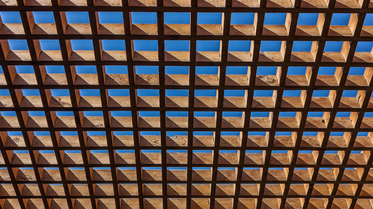 Architecture Blue Sky Ceiling Colourful Grating Light And Shadow Perspective Sky Structure Wood - Material Wooden Grating
