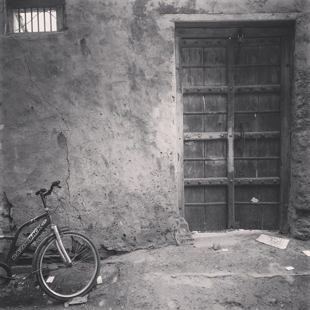 Door Of Destiny Door Bicycle Village Blackandwhite Old