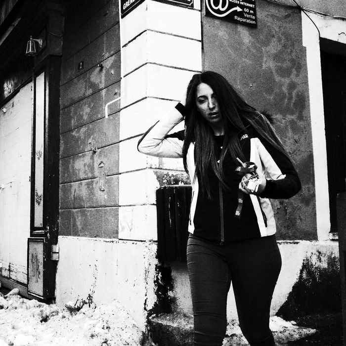 Noir Et Blanc Adult Architecture Blackandwhite Building Exterior Front View Lifestyles One Person Outdoors People Real People Street Photography Streetphotography Women