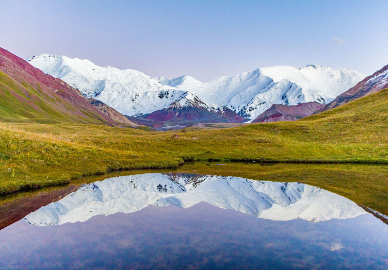 Kyrgyzstan Pamir Mountains Beauty In Nature Cold Temperature Day Idyllic Lake Landscape Mountain Mountain Range Nature No People Outdoors Pamir Reflection Scenics Sky Snow Snowcapped Mountain Tranquil Scene Tranquility Travel Destinations Water