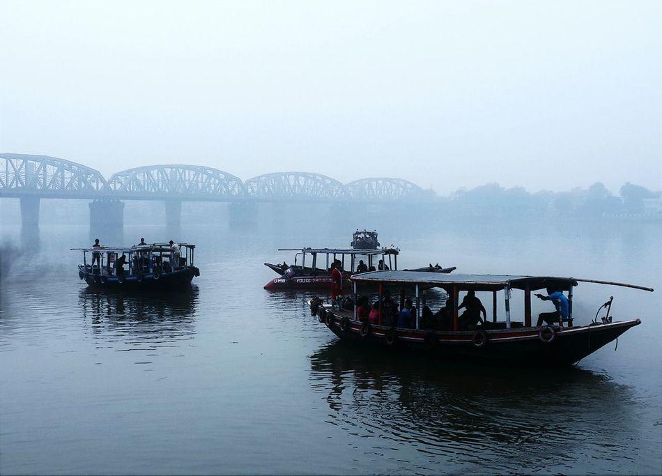 A morning at the river..! Boats Riverboat River View Bridge River Serenity Kolkata Foggy Morning Early Morning People Passenger Ferry