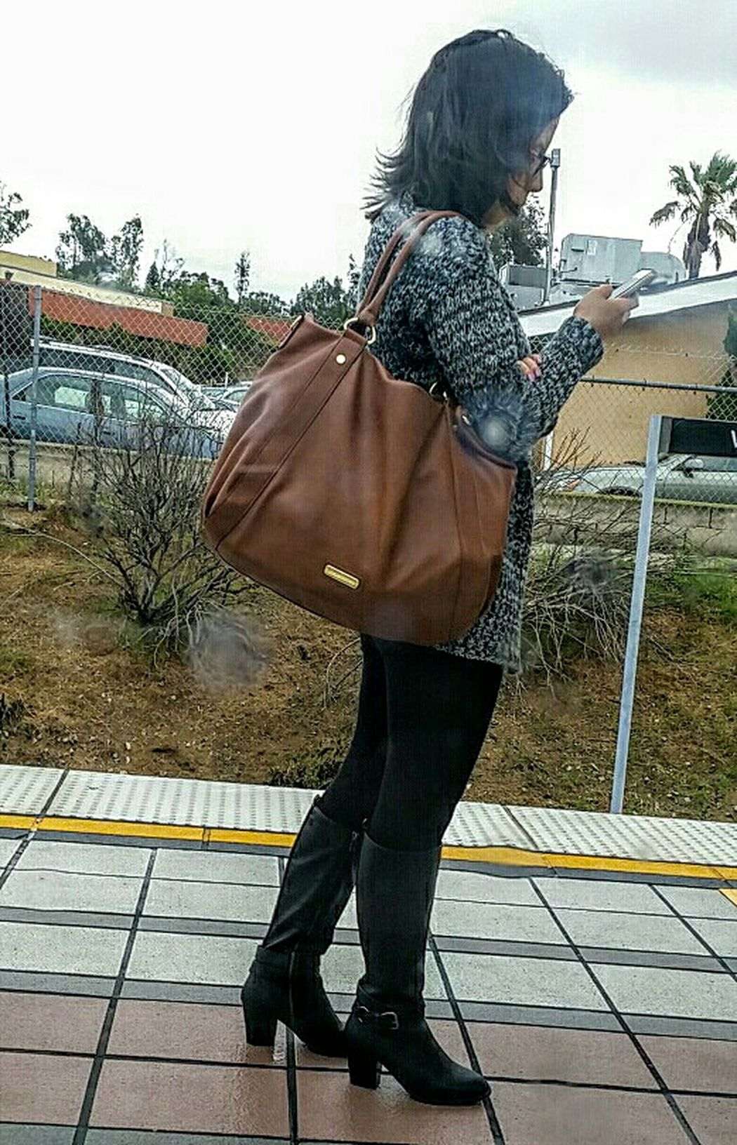 Lady waiting for a train!!
