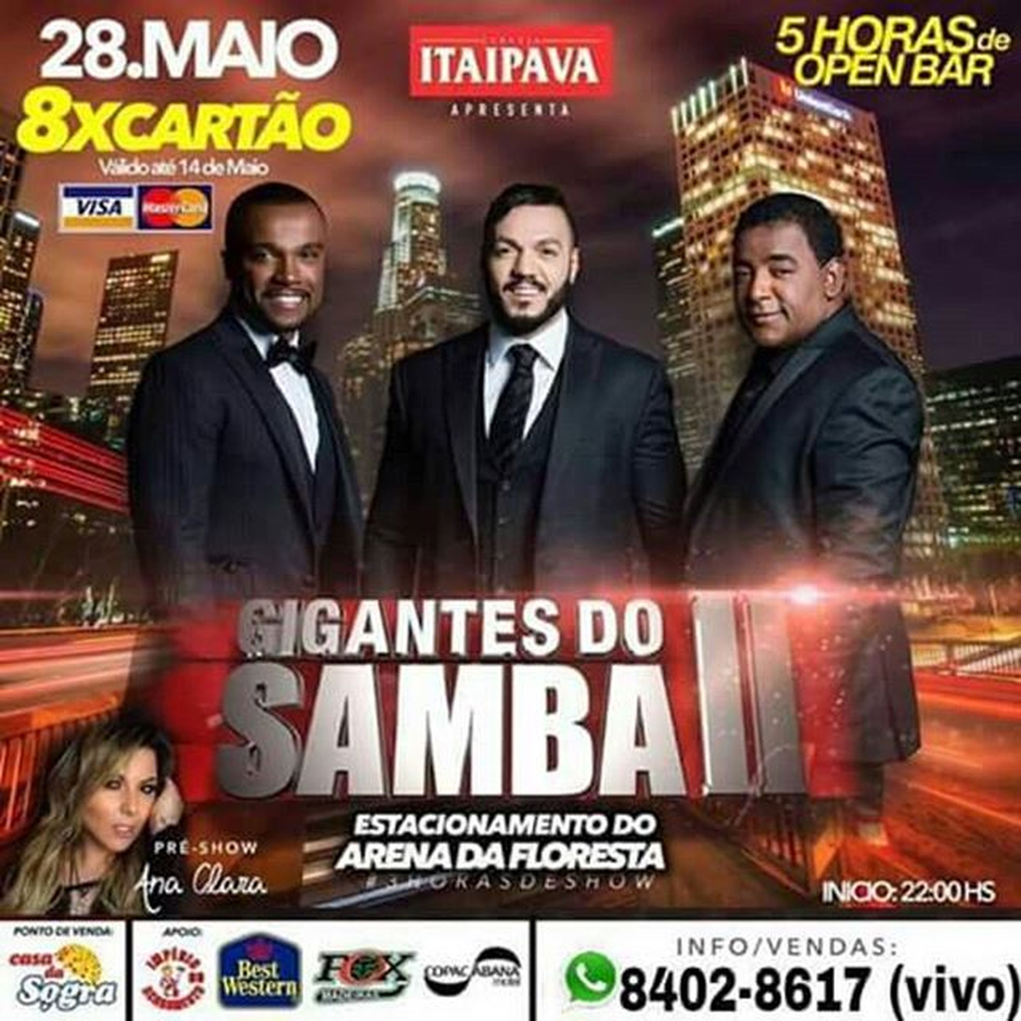 ✅☆ *GIGANTES DO SAMBA.*☆✅ 28 de Maio no estacionamento do Arena da floresta. VENDAS📱8402 -8617 (vivo)📱 *Parcelado em até 8x nos cartões 💳 *5 🕔 HORAS DE OPEN BAR.* 🍺 *3 🕒 HORAS DE SHOW.* 😎 *🎤🎼 SAMBA & PAGODE. 🎤🎼* Curta 👇 Acre Fest Eventos Siga 👉 @acrefesteventos Drink Emusic Dj Party Music Fun Love Saturday Kids Friends Happy Norte Brasil Acre Riobranco Estado