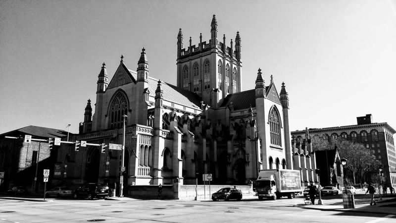 Trinity Cathedral Cleveland Church Architecture Travel Destinations Building Exterior Sculpture Outdoors Sky