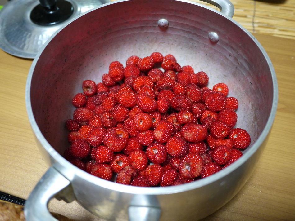 Abundance Berry Fruit Close-up Freshness Making Jam Organic Red Ripe Saucepan Still Life Wild Strawberries