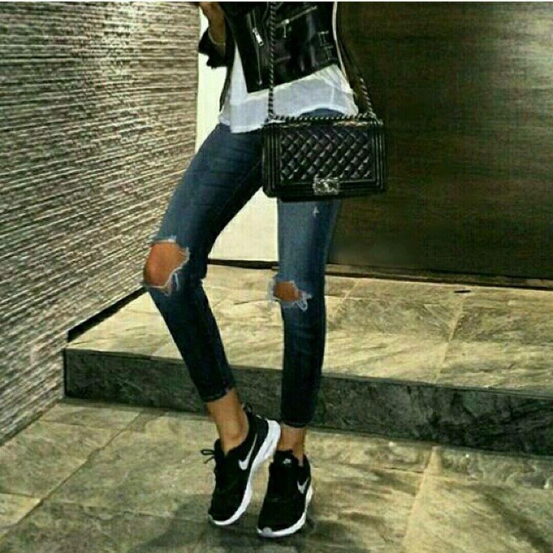 Nike Shoes Leatherjacket Jean Enjoying Life
