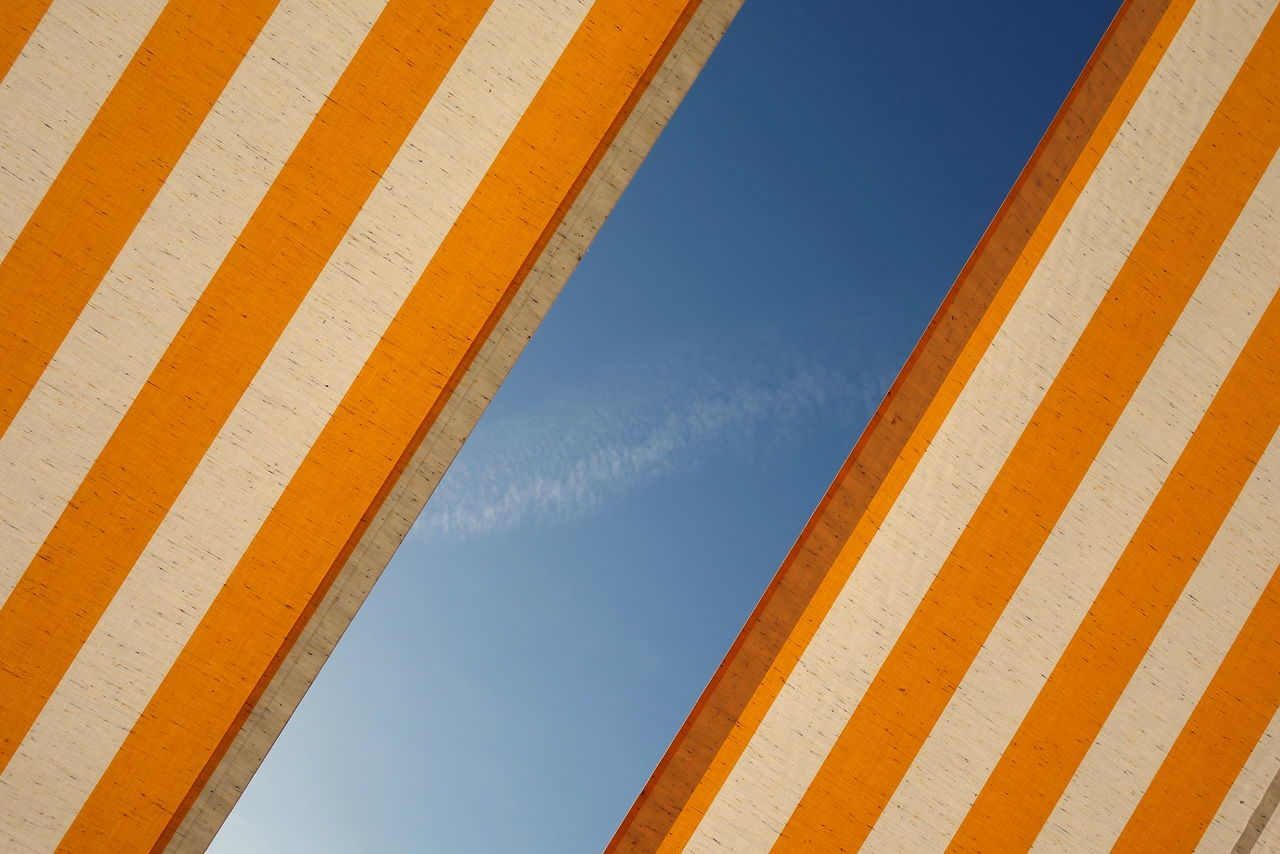 Abstract Clear Sky Orange Color Simplicity Sky Stripes Pattern Sunny Day Symmetry