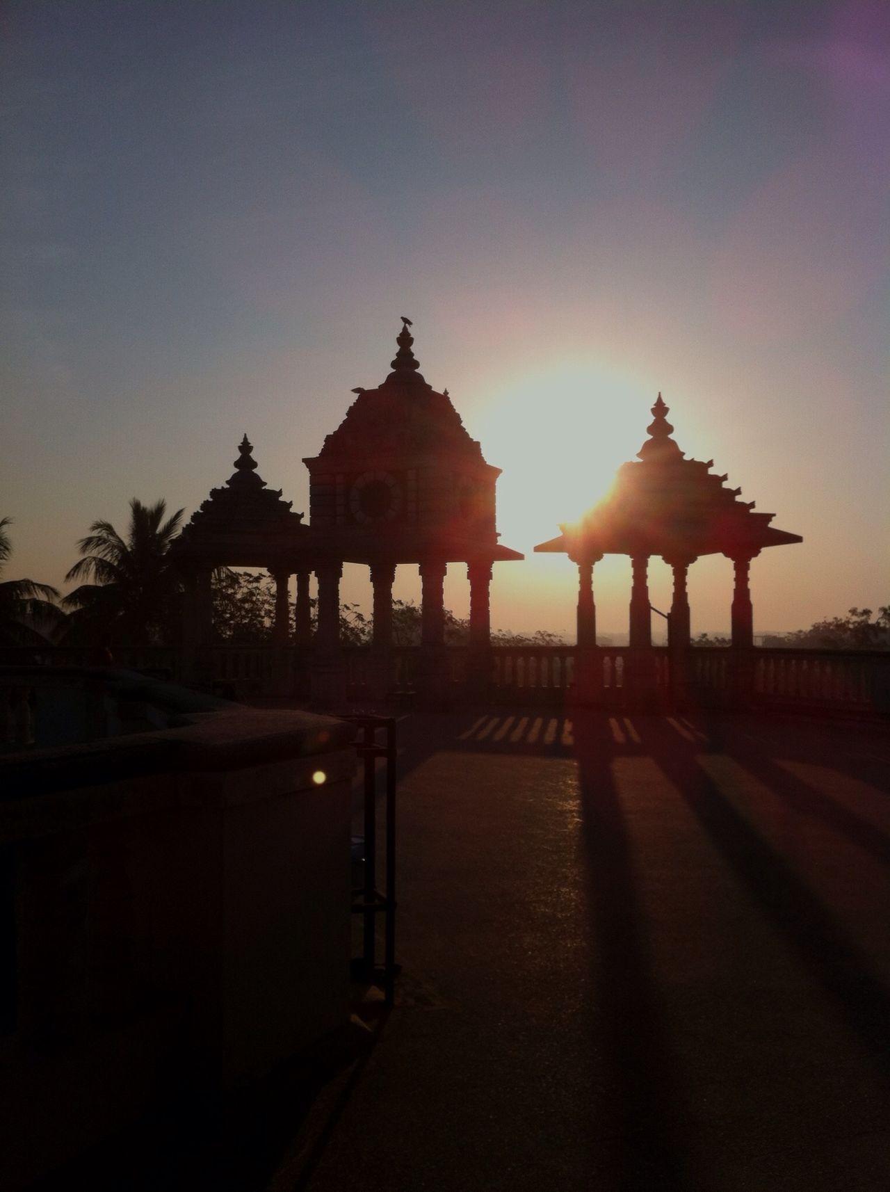 Everyday Joy : the sunrise over Bakti Ashram in Vadodara, India. Temple Sunrise