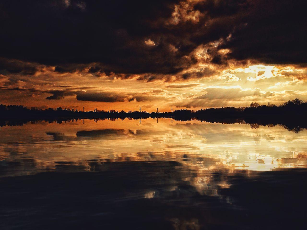 Reflection Lake Water Sunset Nature Tranquil Scene Scenics Outdoors No People Tranquility Sky Beauty In Nature Landscape Zachodslonca Poland Warmia Polska Poland Olsztyn Jezioro The Great Outdoors - 2017 EyeEm Awards