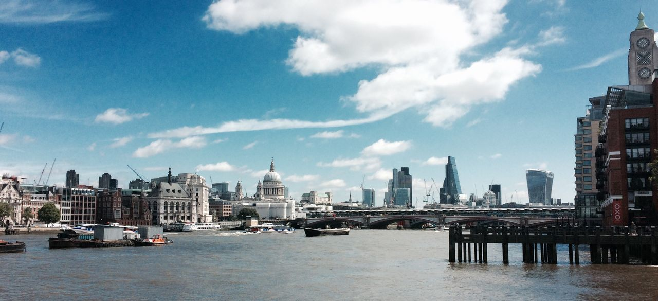 Architecture Bridge - Man Made Structure Building Exterior Built Structure City Cityscape Cloud - Sky Day London Modern Nautical Vessel No People Outdoors River Sky Skyscraper Travel Destinations Urban Skyline Water Waterfront