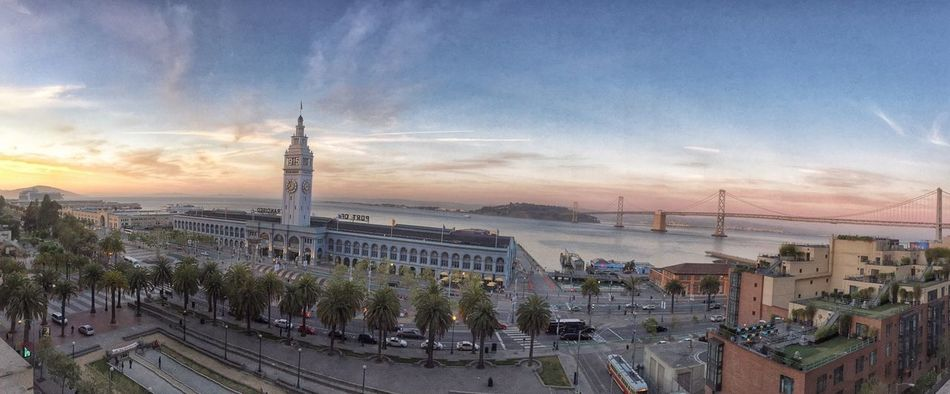 The Embarcadero at Sunset . HDR San Francisco City After Work Walking Around Panorama