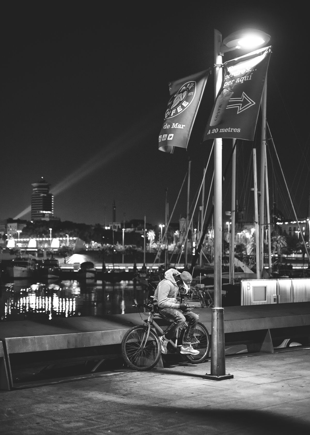 Bicycle Night City Life Black And White Collection  Barcelona Streets EyeEm Gallery Bcnracons Person Bnw_captures Streetphoto_bw Bnw_demand Fine Art Photography