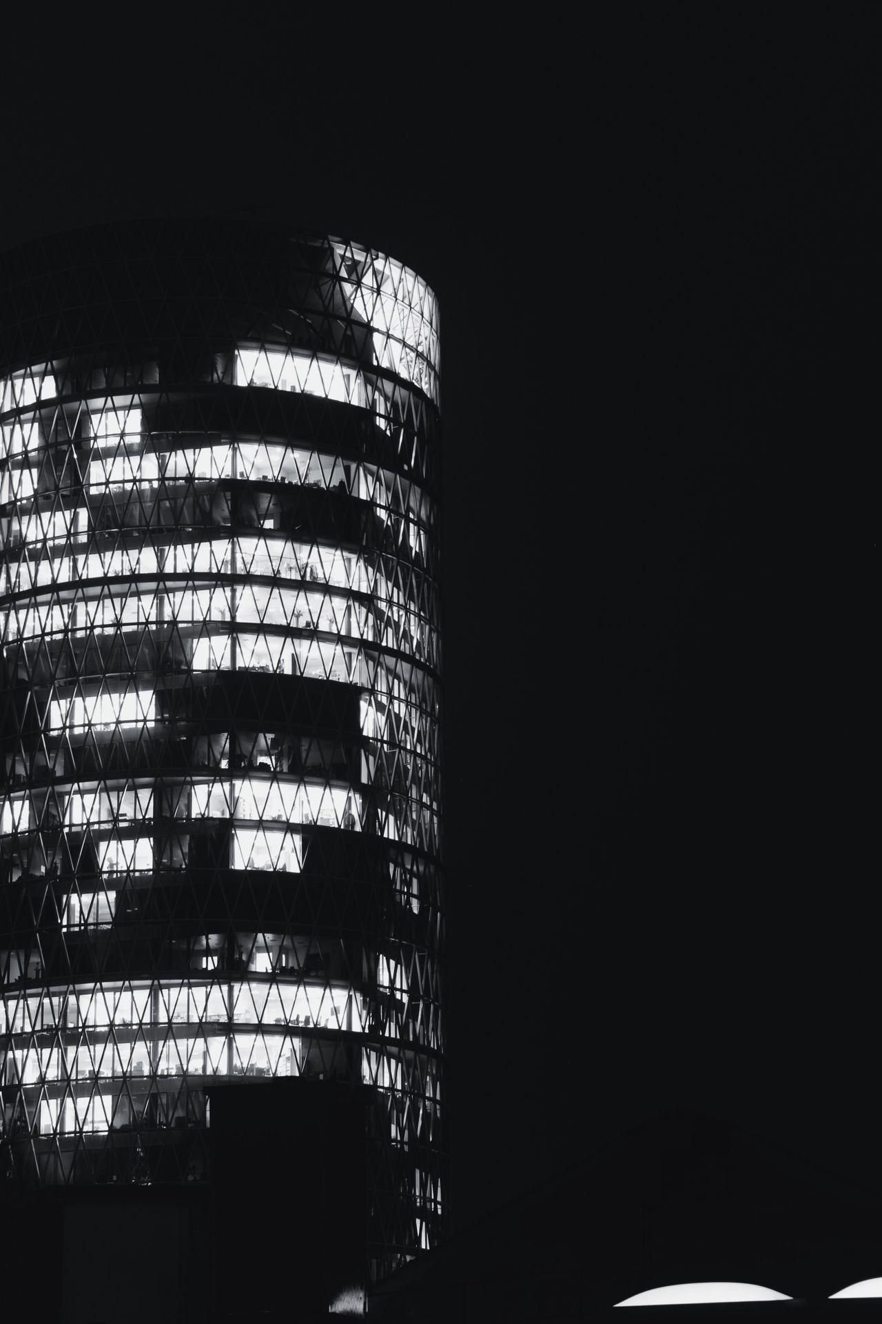 Dark Darkness And Light Illuminated Dark Photography No People Architecture Architecture_bw Architectural Detail Modern Monochrome Bw Blackandwhite Sky Built Structure City Building Frankfurt Westhafen Tower Westhafen Gutleutviertel