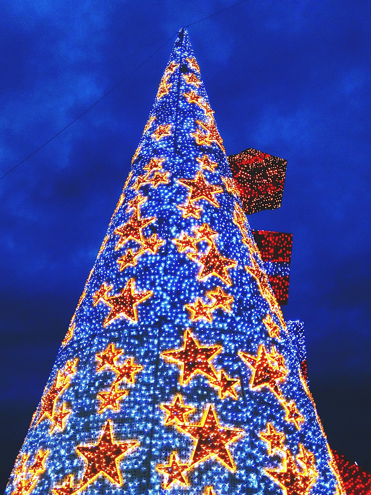 Star Shape Christmas Tree Christmas Christmas Decoration Celebration Sky Tradition Night Christmas Ornament No People Côte D'Azur French Riviera France Scenics St Raphael Blue Christmas Lights Christmas Decorations Christmas Around The World