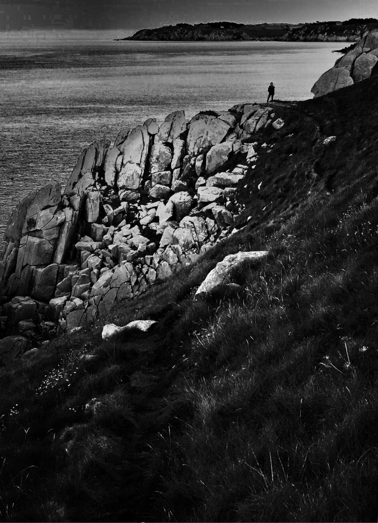 Ocean View Alone Blackandwhite Seascape Cliffs Rocks