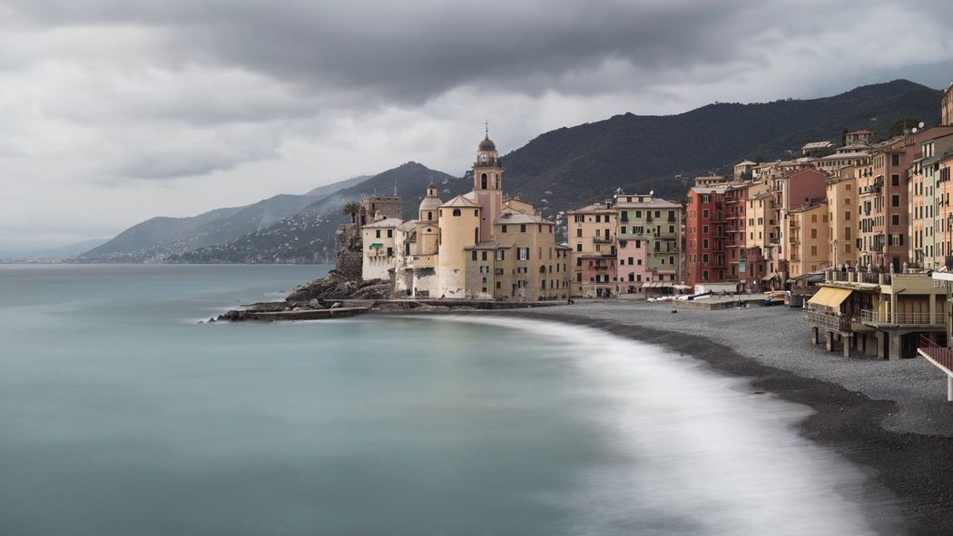 Mountain Sky Architecture Cloud - Sky Building Exterior Built Structure Water Outdoors Mountain Range Waterfront Sea No People Day Nature Beauty In Nature Scenics Storm Cloud City Long Exposure Seascape Liguria, Italy Camogli Italia I Love Clouds Weather Change