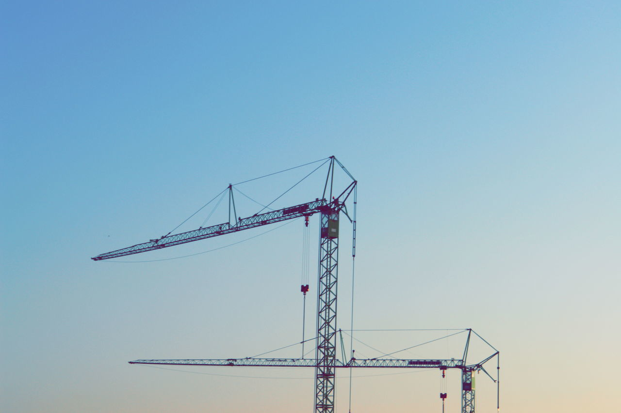 Architecture Built Structure Clear Sky Construction Construction Site Crane Day Low Angle View No People Outdoors Sky